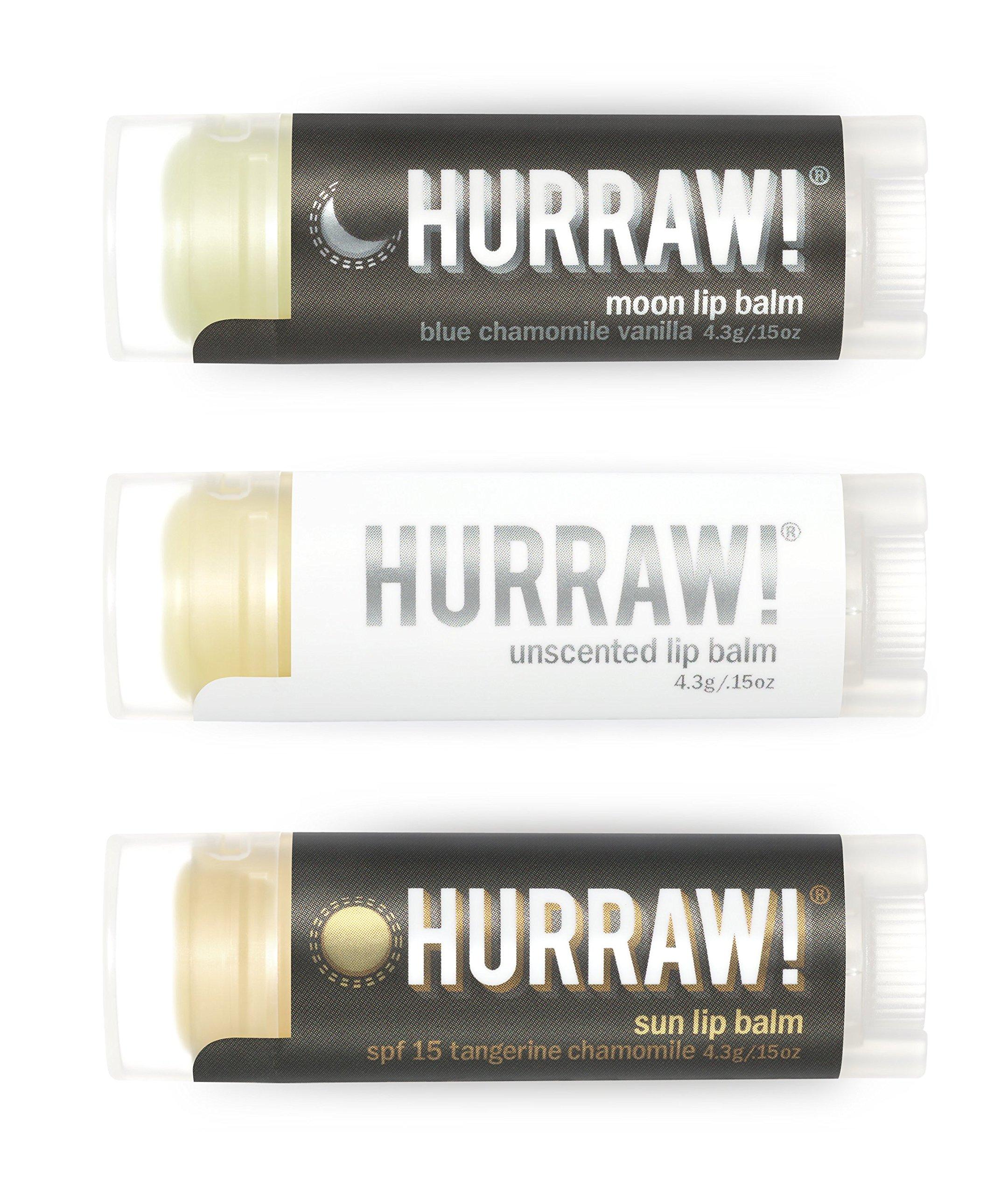 HURRAW! Moon, Unscented, Sun Lip Balms Bundle: Sunscreen, SPF 15, Zinc Oxide Sun Protection, Organic, Vegan, Non-GMO, Gluten Free, Natural, Luxury Lip Balm Made in USA – MOON, UNSCENTED, SUN (3 Pack)