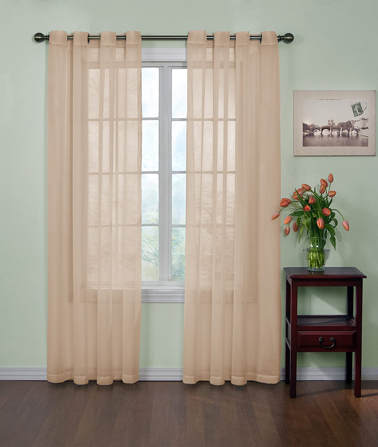Arm and Hammer Curtain Fresh Odor Neutralizing Sheer Curtain Panel, 120 Inches, Latte