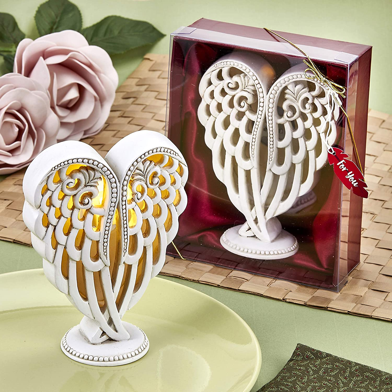 FASHIONCRAFT 8246 Angel Wings Design Statue with Light up LED, Angel Wings Figurine, Communion Favor, Baptism Favor - Home Décor
