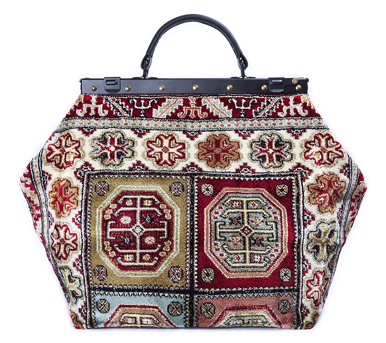 Carpet Bag SAC-VOYAGE Aztec Red - Magical Mary Poppins Vintage-Style Carpet Bag with leather handle and detachable strap.