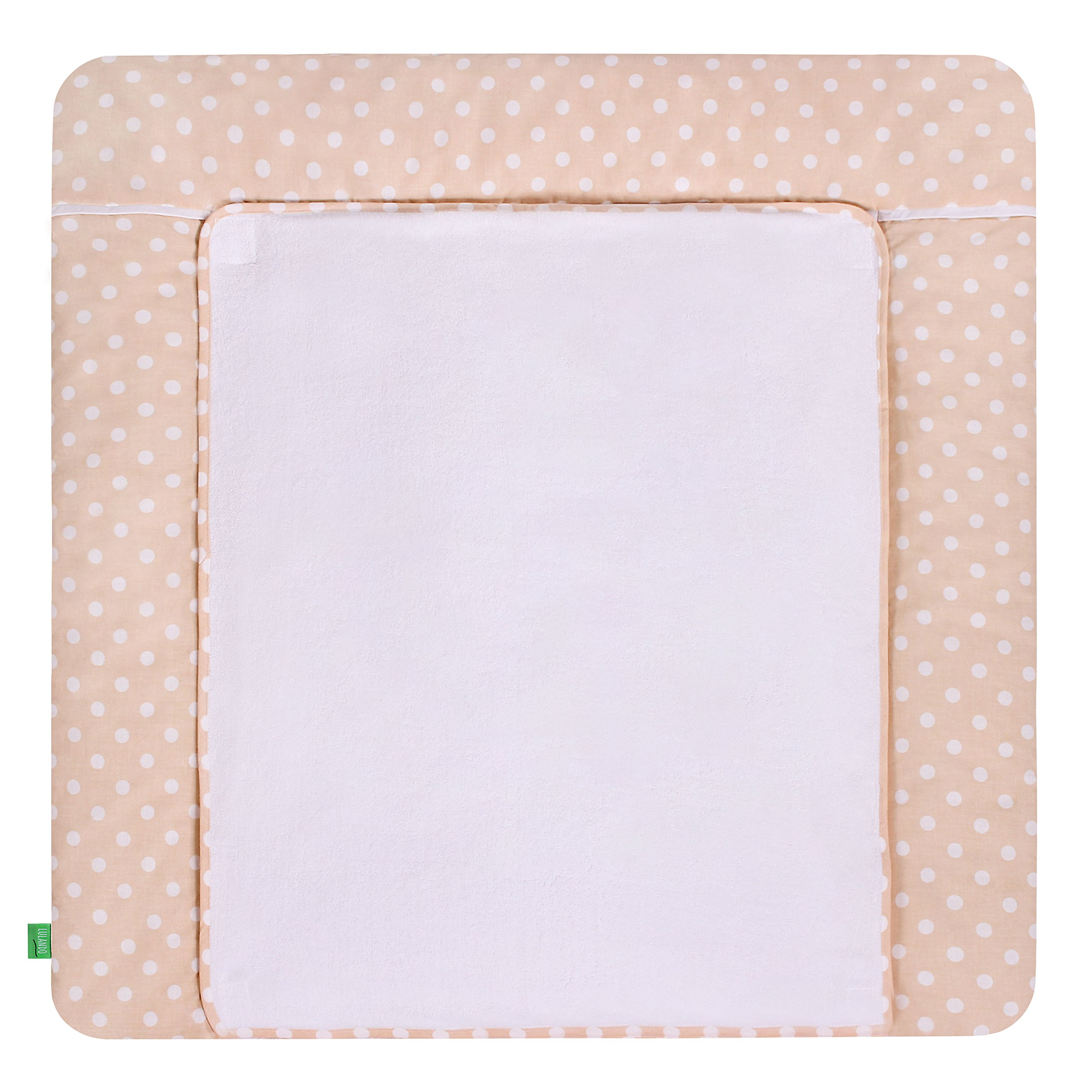 LULANDO Changing Mat with 2 Removable Waterproof Covers 29,92 x 29,92 in 100% Cotton Frotte (Beige Dots)