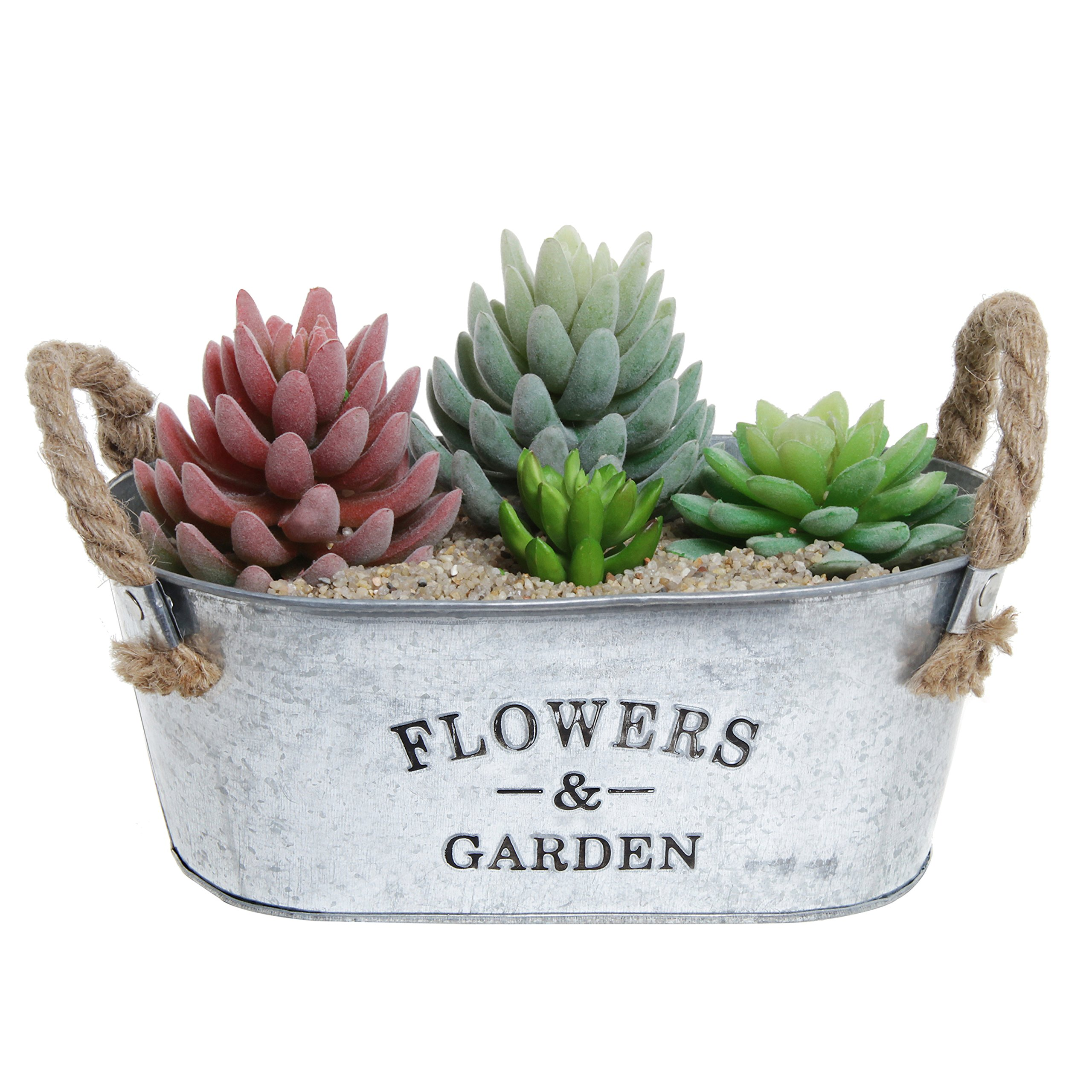 Rustic 'Flowers & Garden' Bucket Design Small Metal Succulent Plant Container w/ Twine Handles - MyGift