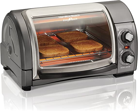 Hamilton Beach 31344D Easy Reach With Roll-Top Door Toaster Oven 4-Slice Silver