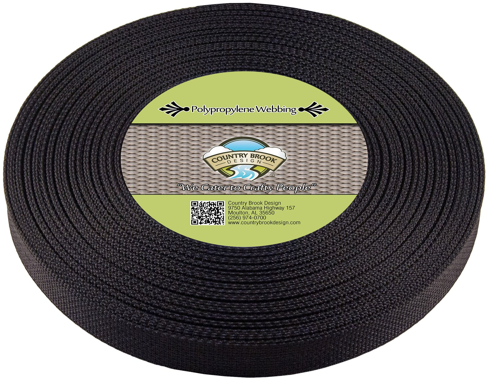 Country Brook Design | 1 Inch Black Polypro Webbing, 50 Yards