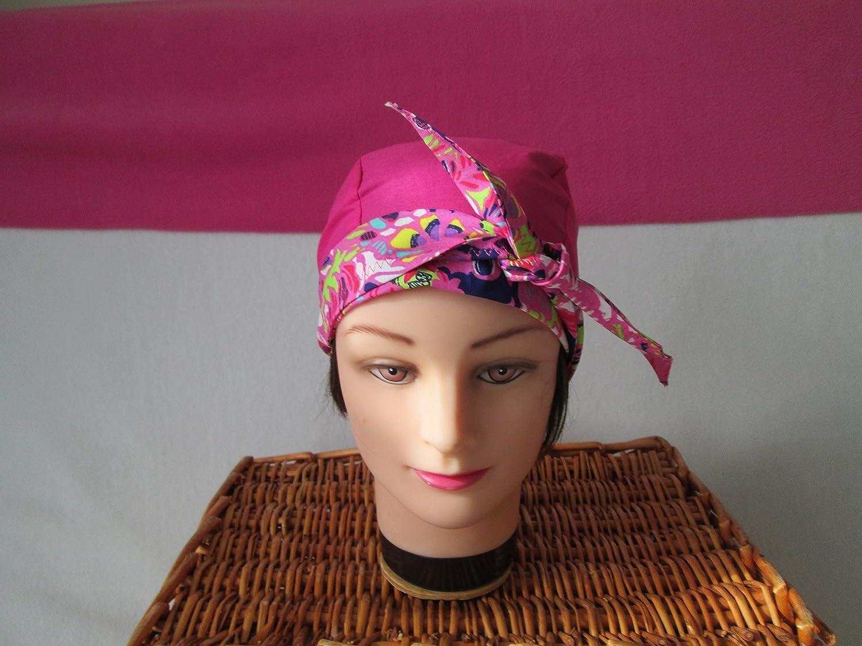Foulard, turban chimio, bandeau pirate au féminin fuchsia et fleuri