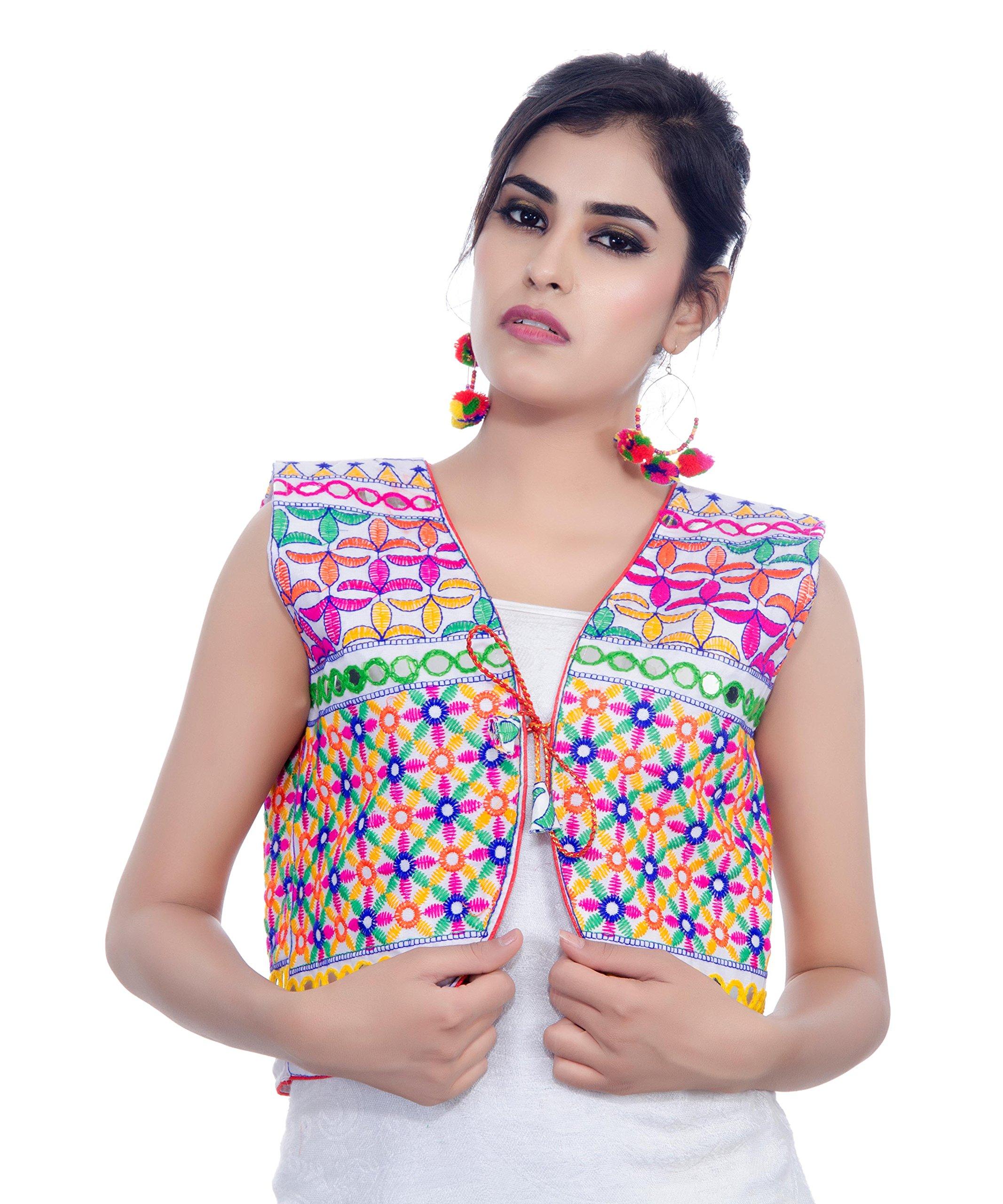 Banjara India Kutchi Short Choli Jacket (Bullet) (White)
