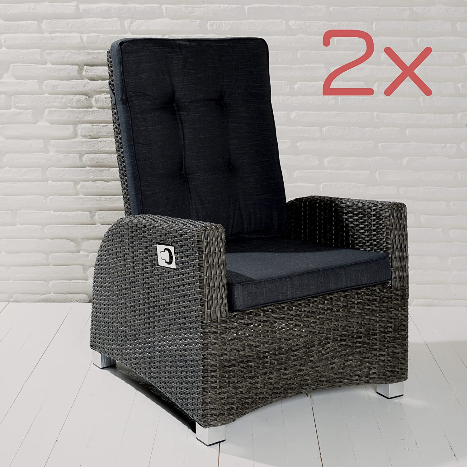 2er set barcelona living gartensessel xl sessel f r den garten oder terrasse gartenm bel. Black Bedroom Furniture Sets. Home Design Ideas