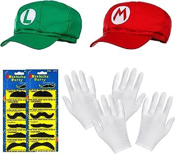 Pack Doble de Gorro de Super Mario + Gorro Luigi en Juego Completo ...