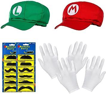 Doble Pack de Super Mario Gorro + Luigi en Juego Completo + Guantes Blancas  y Adhesivas f70d0c1816b
