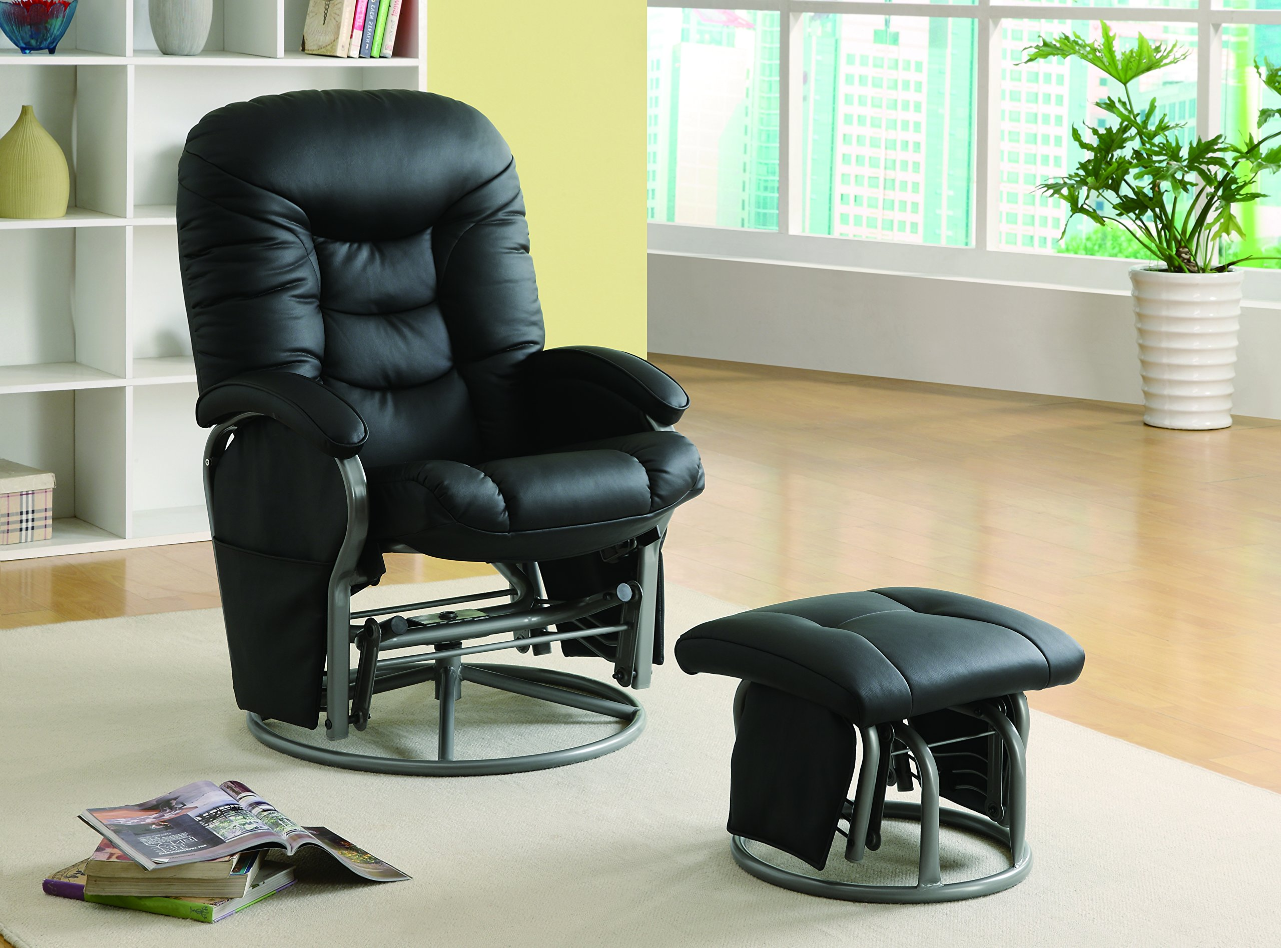 Leatherette Glider Recliner with Matching Ottoman Black by Coaster Home Furnishings