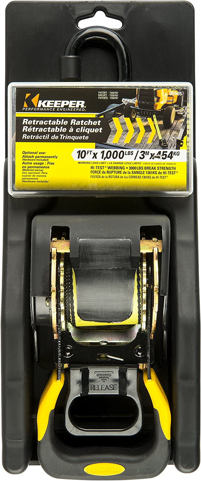 1000 lbs Working Load Limit Keeper 05565 10 x 1-7//8 ProGrade Retractable Tie Down