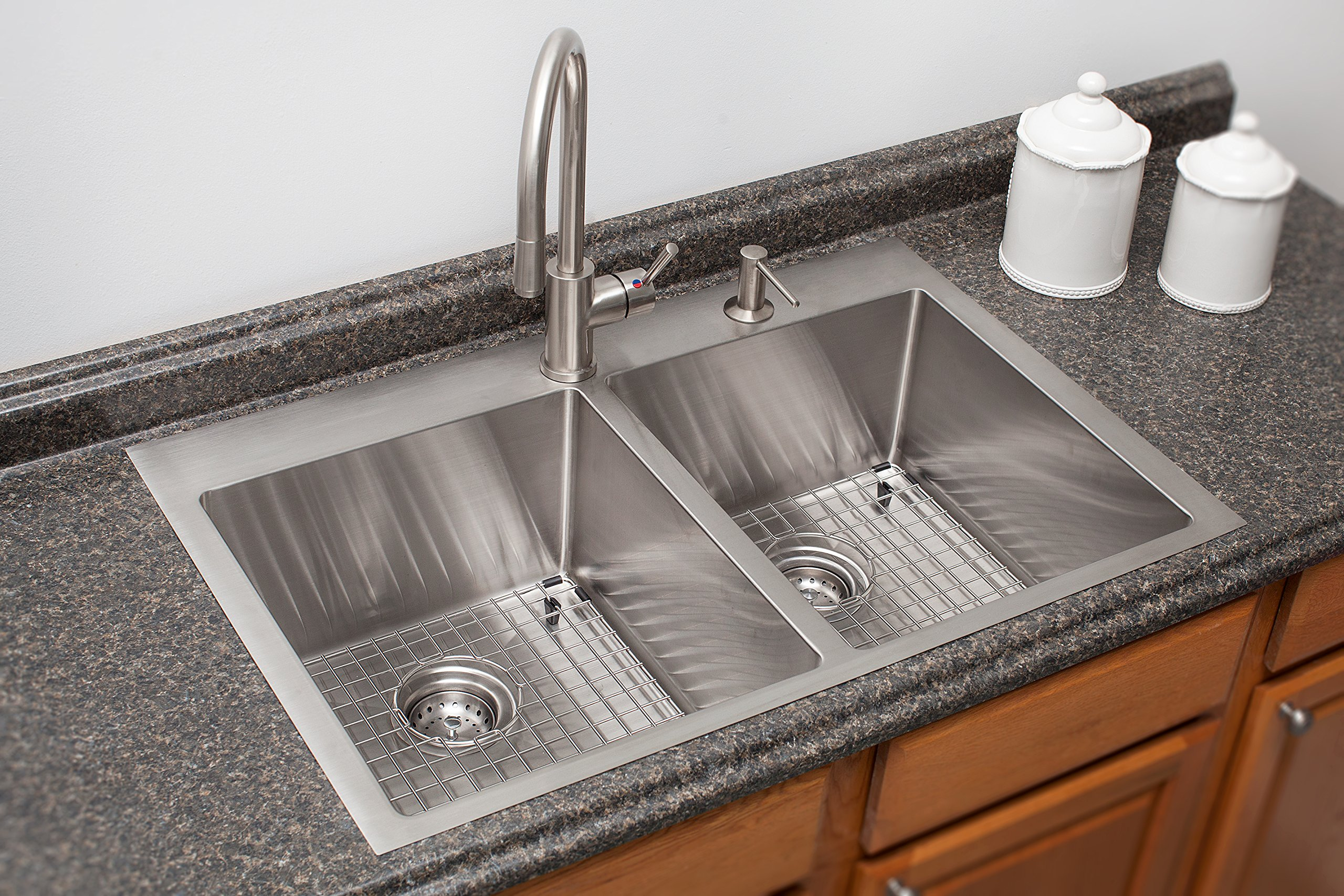 Franke HF3322-1KIT Vector 33.5 inch (33 inch) Handmade Dual Mount Double Bowl deep Kitchen Sink Kit, Stainless Steel by Franke (Image #2)