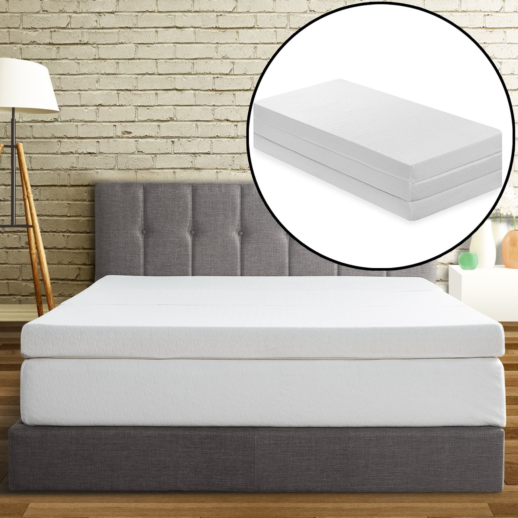 Best Price Mattress Tri-Fold Memory Foam Mattress Topper, 4-Inch by Best Price Mattress
