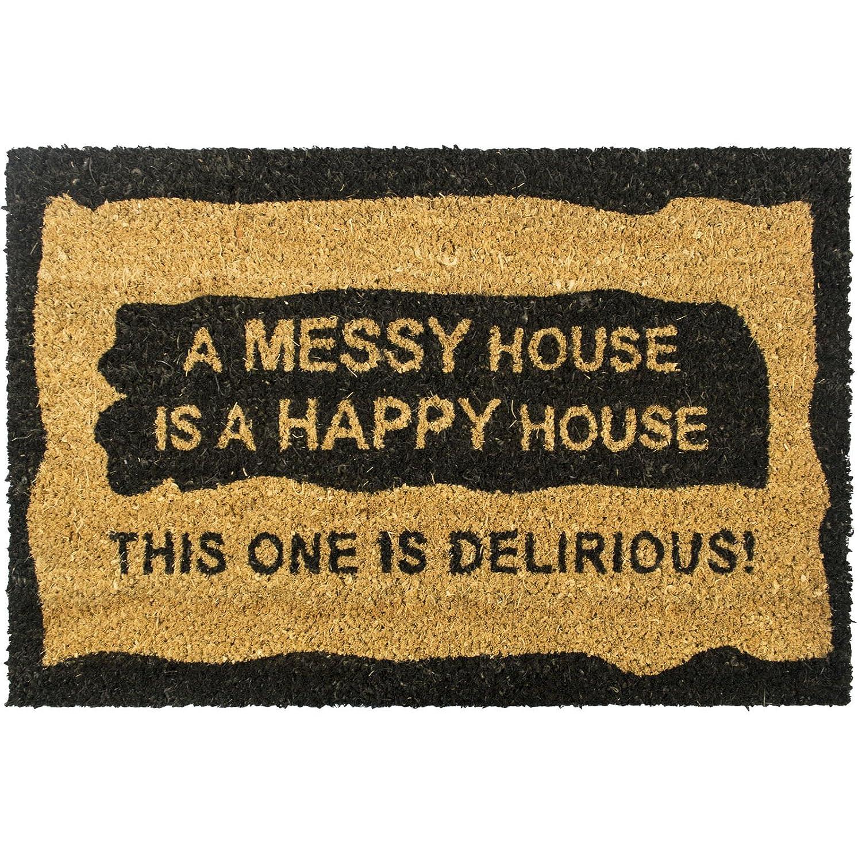 Get Goods Coco Paillasson coco–22designs assortis–Rough/arrière en caoutchouc noir antidérapant–60cm x 40cm, A Messy House Is A Happy House, 60 x 40