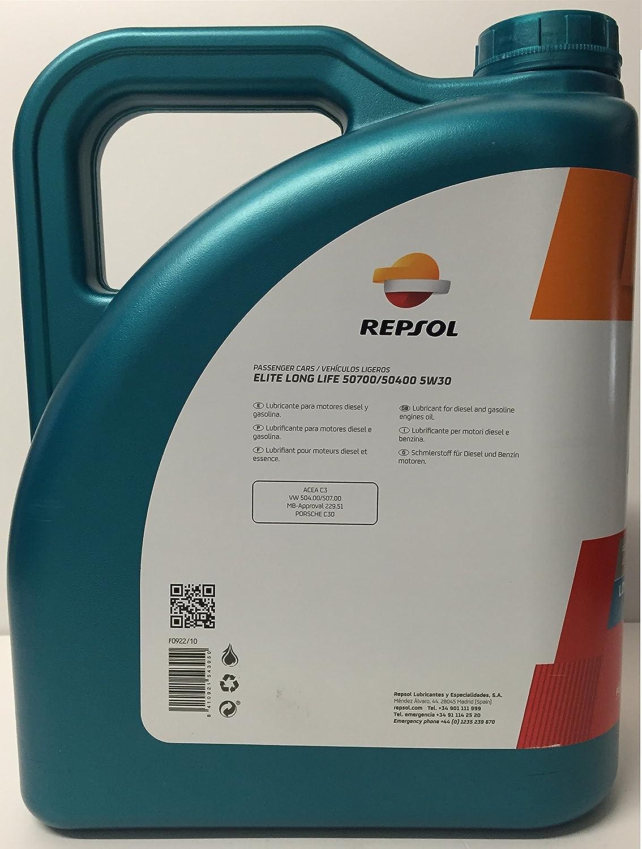 Aceite motor REPSOL Élite Long Life 50700/50400 5W-30 20 LITROS (4x5 litros): Amazon.es: Coche y moto