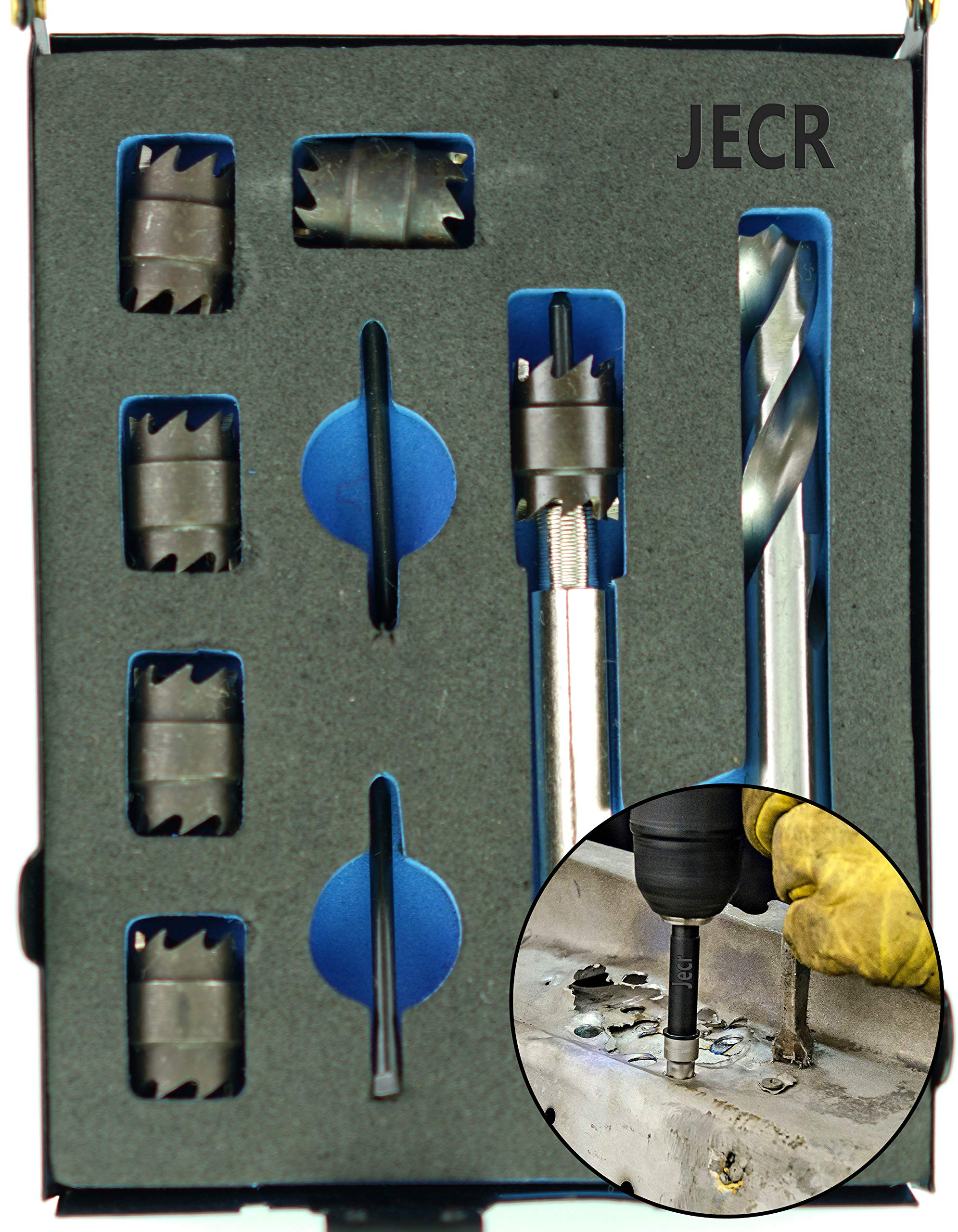 Spot Weld Cutter Kit, 9 Piece Sheet Metal Hole Cutter Punch Remover Panel Separator for Power Drill Welding Auto Body Work Tool, 3/8 Inch Drill Bit Tools