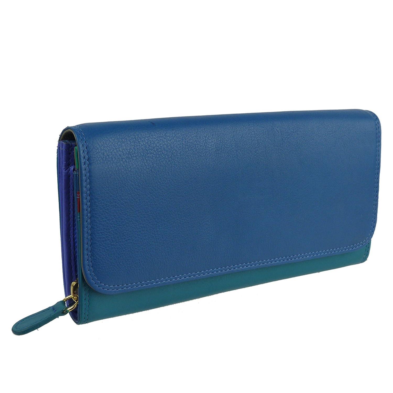 Damen Leder Große Klappe über Matinee Tasche von Golunski bunt Mehrfarbig Blau/mehrfarbig
