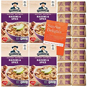 Quaker Raisin and Spice Flavored Instant Oatmeal Bundle Pack - 10 Packets Per Box - 4 Boxes Included - 40 PACKETS TOTAL - 100% Whole Grain Oats - BONUS Sunrise Delights Recipe and Fun Facts Booklet!