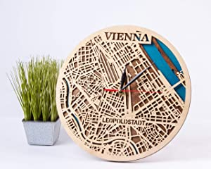 Wooden Wall Clock with Vienna Map Design Austria Wooden Decor 12 Inch Wooden Clock Vienna Wooden Wall Clock Birthday Gift for Man Small Scale Map Gift City Art Vienna 3D Wooden Map Clock