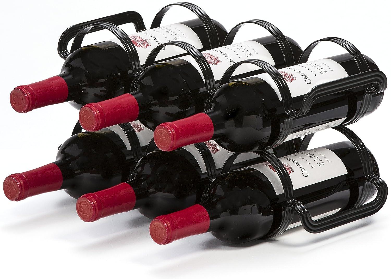 Mango Steam 6 Bottle Countertop Wine Rack, (Black)