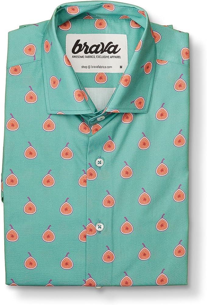 Brava Fabrics | Camisa Hombre Manga Corta Estampada | Camisa Verde para Hombre | Camisa Casual Regular Fit | 100% Algodón | Modelo Fig Dreams | Talla 3XL: Amazon.es: Ropa y accesorios