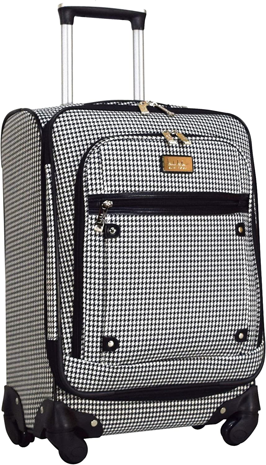 Nicole Miller New York Luggage Collection - Designer Lightweight Softside Expandable Suitcase- 20 Inch Carry On Bag with 4-Rolling Spinner Wheels (White)