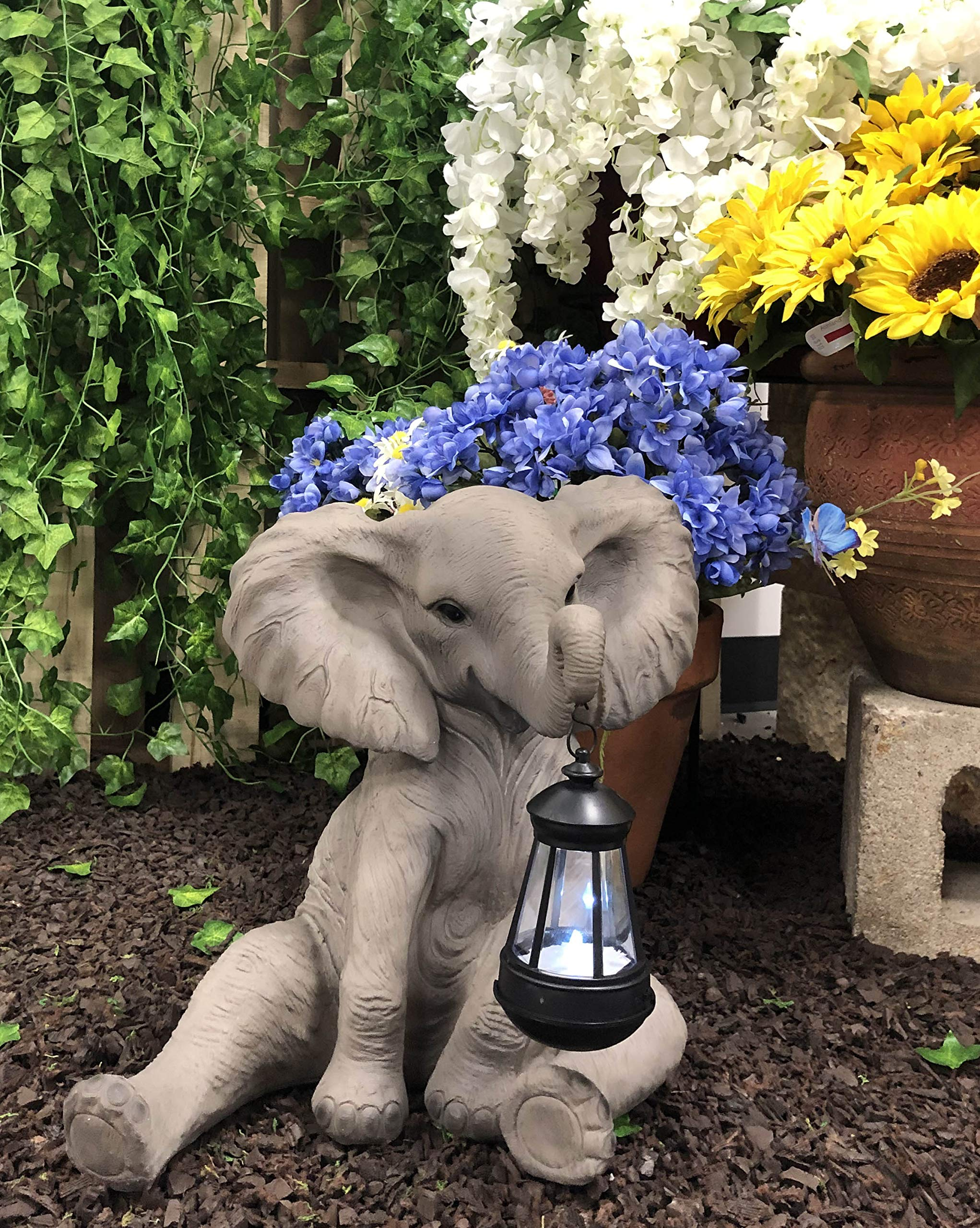 Ebros Safari Savanna Wildlife Animal Melee Adorable Pachy Elephant Statue Home Patio Decor Figurine with Solar LED Light Lantern Lamp 13.75'' H Guest Greeter Elephants Path Lighter Sculpture