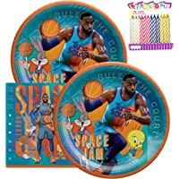 """Space Jam Party Supplies Pack Serves 16: 9"""" Plates and Luncheon Napkins with Birthday Candles (Bundle for 16)"""