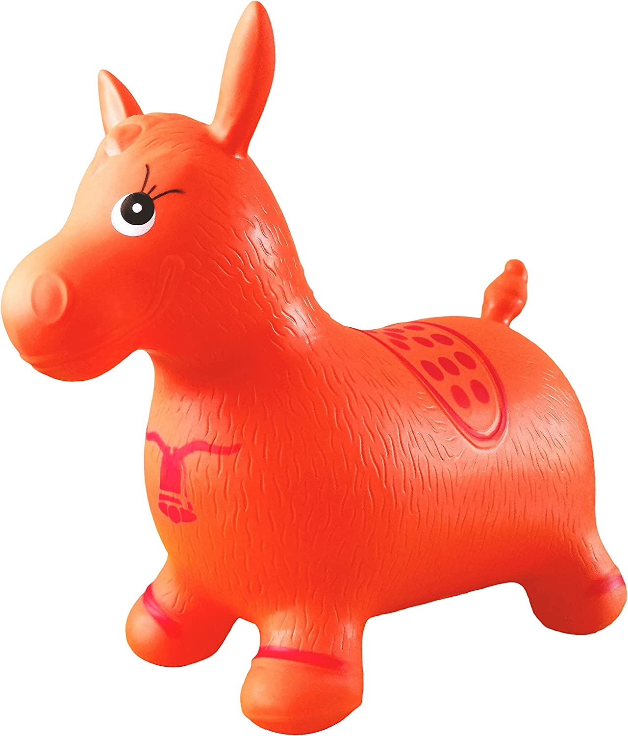Orange Horse Hopper, Pump Included (Inflatable Space Hopper, Jumping Horse, Ride-on Bouncy Animal)