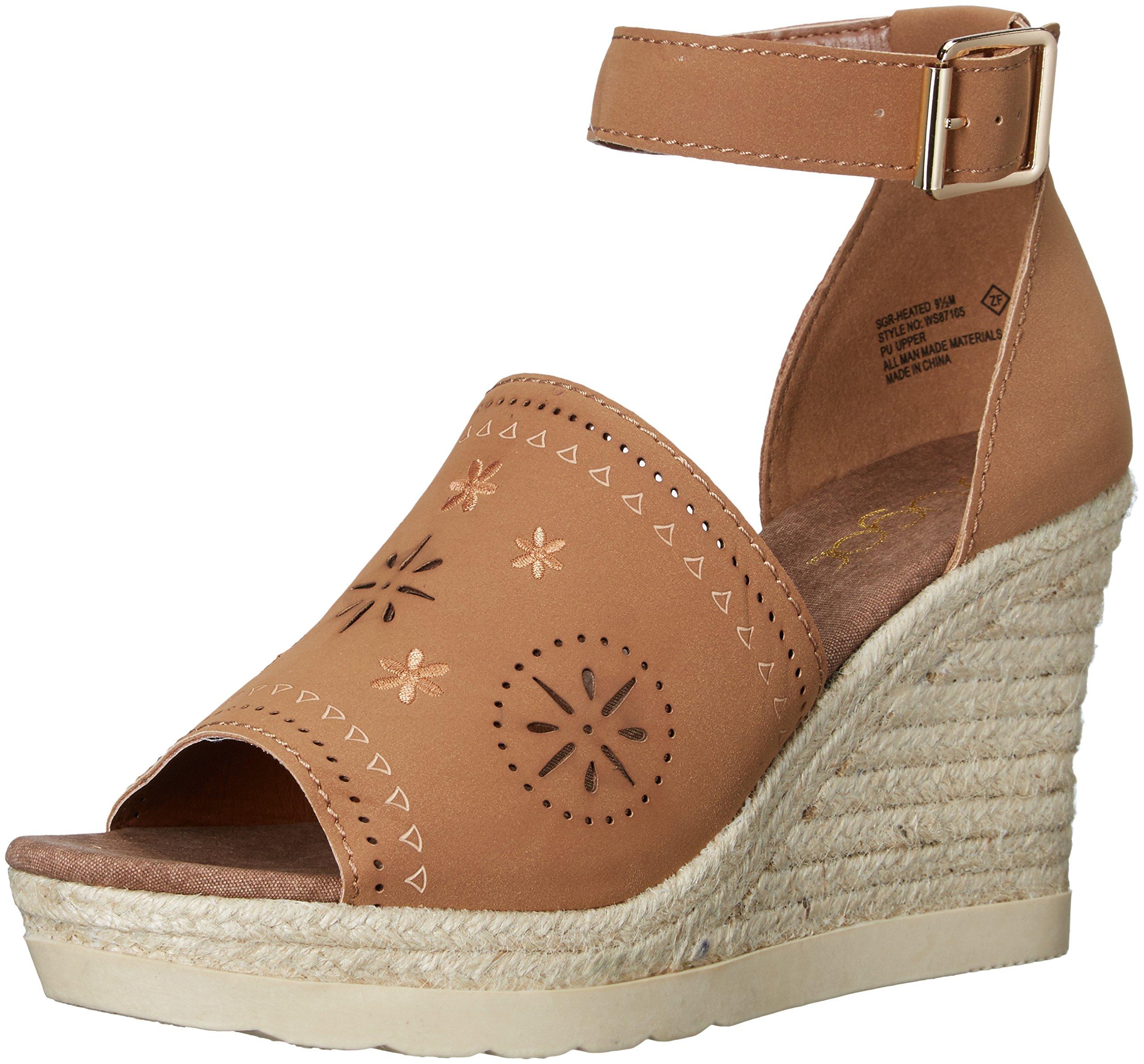 Sugar Women's SGR-Heated Espadrille Wedge Sandal, Honey Nubuck, 7 M US