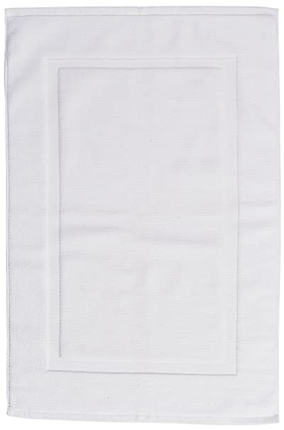 AmazonBasics Banded Bath Mat, 20 x 31 inch (50.8 cm X 78.7 cm), White