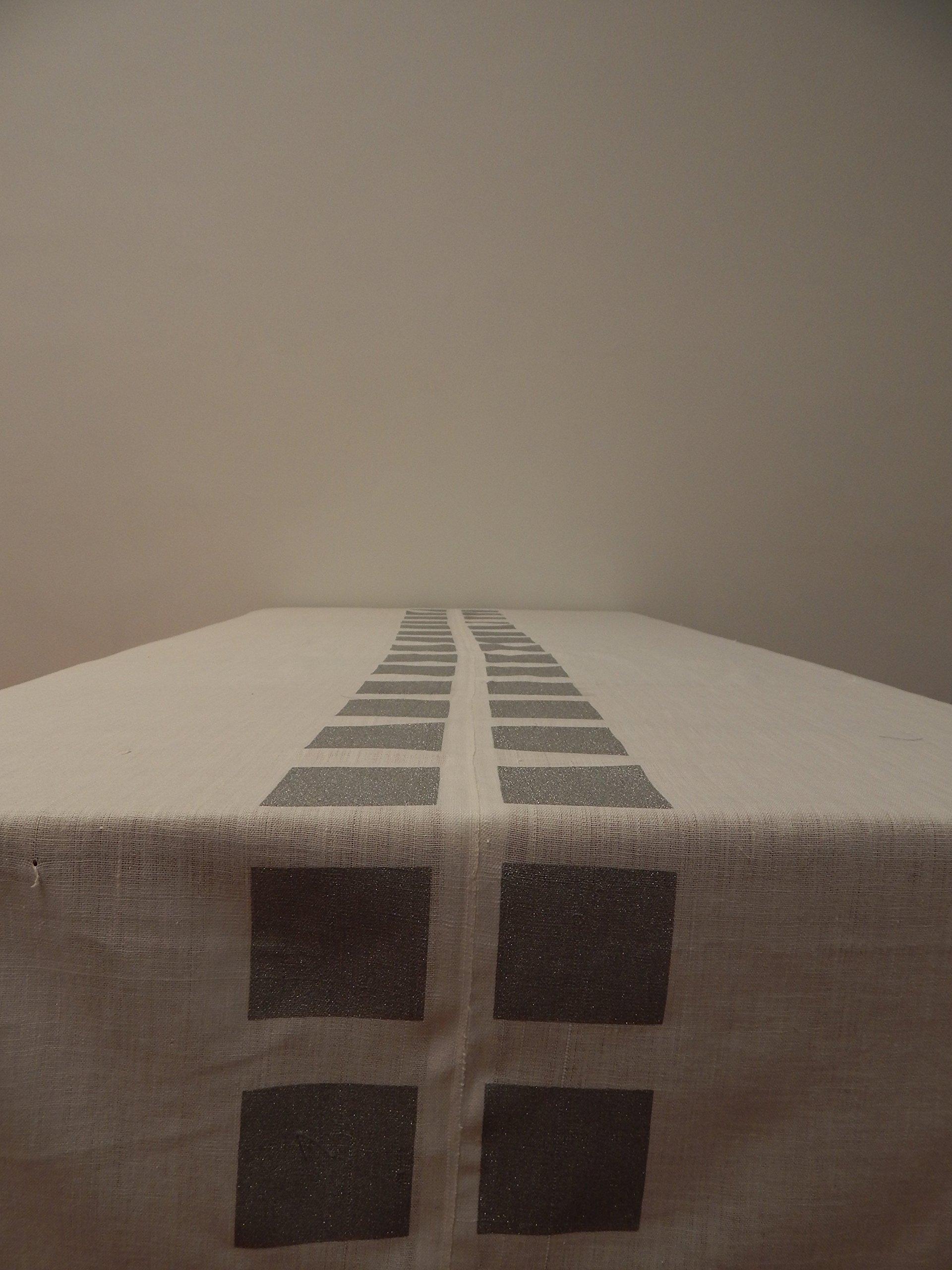Gitika Goyal Home Cotton Khadi Silver Screen Printed Tablecloth with Square Design, White, 60'' x 90''