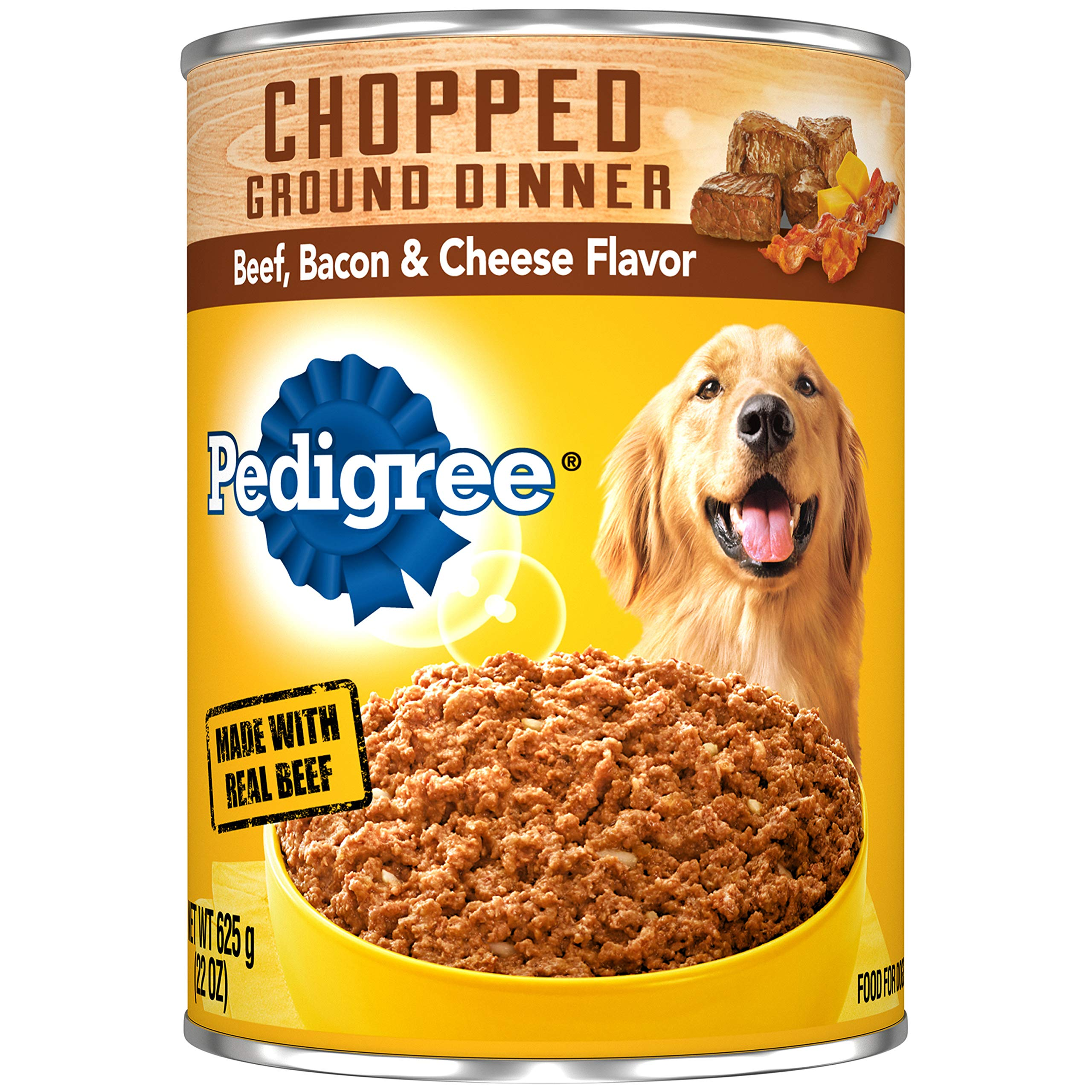 Pedigree Chopped Ground Dinner Beef, Bacon & Cheese Flavor Adult Canned Wet Dog Food, (12) 22 oz. Cans by Pedigree