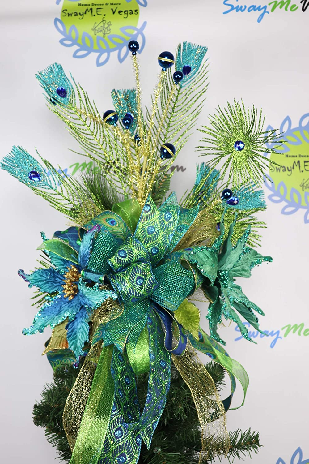new arrival ff159 ee09a Amazon.com: Green Peacock Tree Topper, Lime Green Blue ...