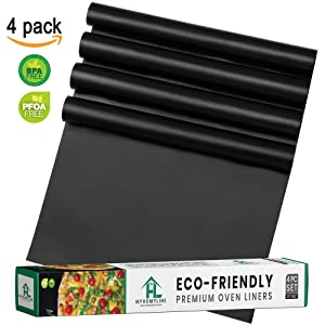 Oven Liners For Bottom Gas Electric Oven - Large Nonstick Stove-top Oven Liners - Heavy Duty Reusable Oven Floor Protector Liner - PFOA & BPA Free - Heat Resistant Baking Mat - Works as BBQ Grill Mat