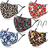 Reusable and Washable Face Madk with 2 Adjustable Lanyards for Women,Build-in Nose Wire and Filter Pocket,Breathable Dust Clo