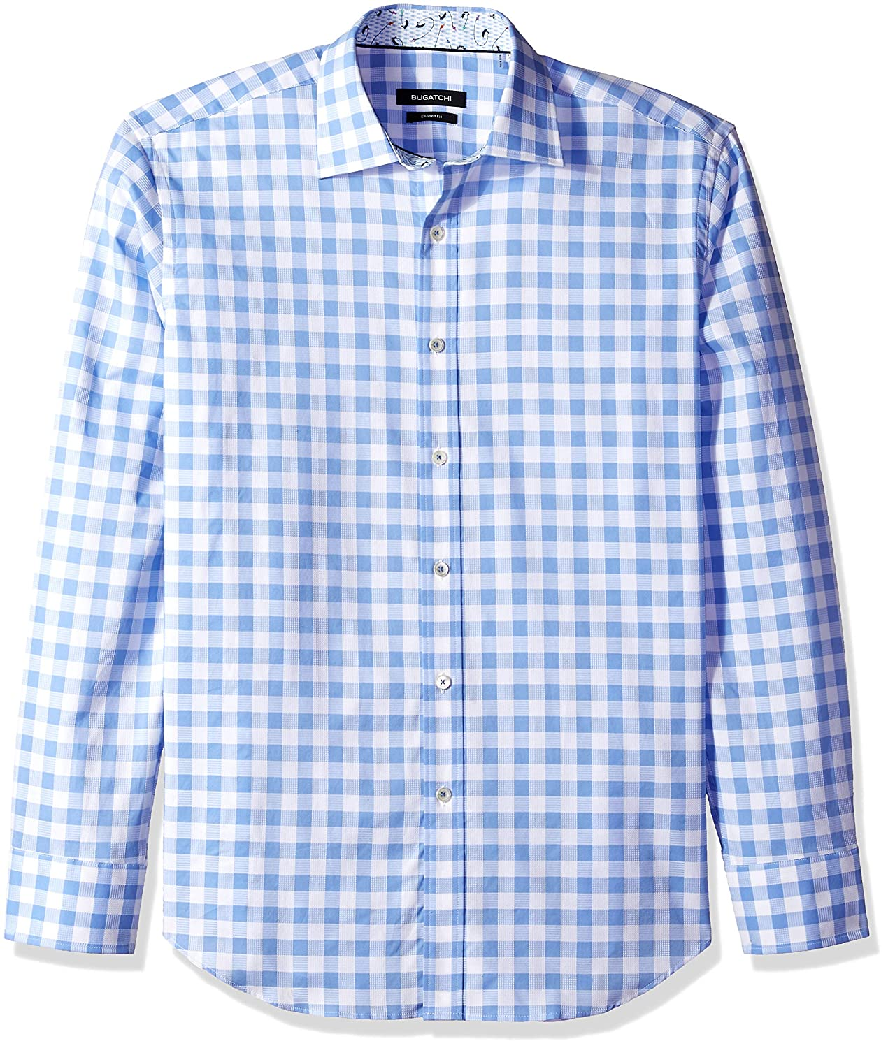 Bugatchi Mens Fitted Long Sleeve Point Collar Checks Pattern Sport Shirt