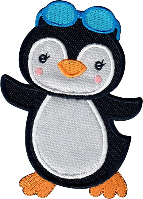 PENGUINS ARCTIC ANIMALS BABY PENGUIN IRON ON EMBROIDERED APPLIQUE PATCH