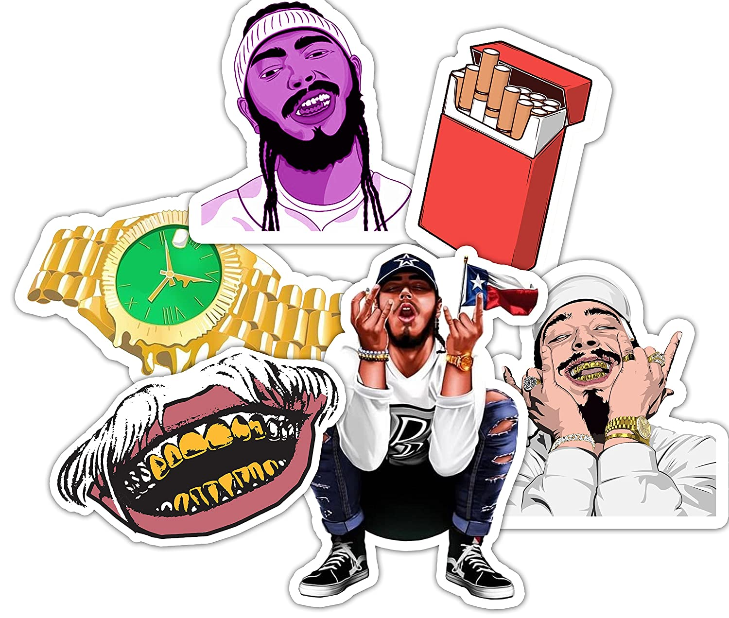 Post Malone Sticker Set - Water bottle Stickers - Sticker Bomb - Laptop Stickers **Water Proof Stickers**