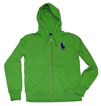 Ralph Lauren Polo Womens Big Pony Zip Hooded Hoodie Sweatshirt Green Navy  Medium