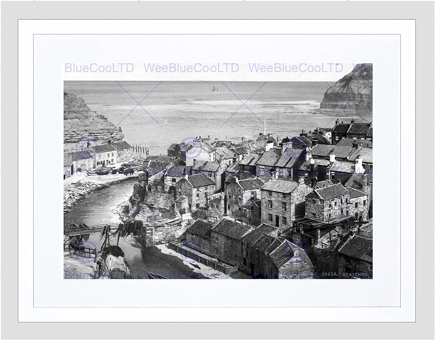 WHITBY STAITHES YORKSHIRE ENGLAND OLD BW BLACK FRAMED ART PRINT PICTURE B12X1379