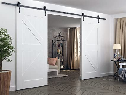 DIYHD 10FT Arrow Hanger Double Sliding Barn Door Hardware Bi Parting Barn  Door Track System