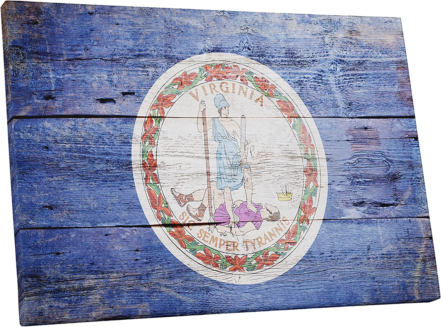 Amazon Com Vintage Virginia State Flag Gallery Wrapped Canvas Wall Art 20 X 16 Wall Art