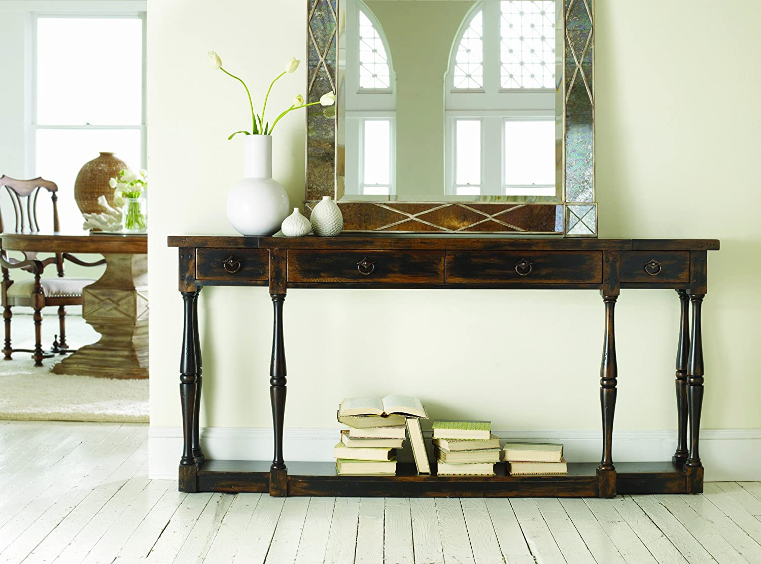 amazoncom hooker furniture sanctuary fourdrawer thin console in ebony kitchen u0026 dining