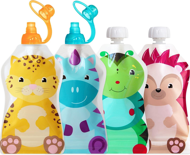 ChooMee Bolsitas de alimento reutilizable con una remallera de doble para el bebé 5 Onzas 4 piezas