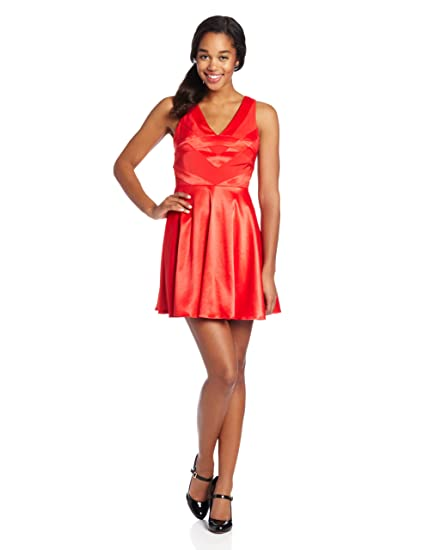 ce44f030a75 Amazon.com  Hailey Logan by Adrianna Papell Juniors Scroll Satin Party Fit  and Flare Dress  Clothing