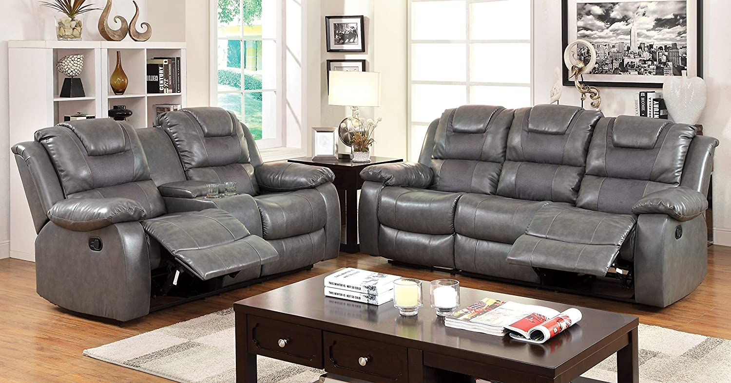amazoncom furniture of america steely 2recliner sofa kitchen u0026 dining
