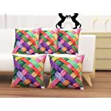HOMECRUST Jute Ribbons Cushion Covers (16 x 16-inch, Multicolour) - Set of 5