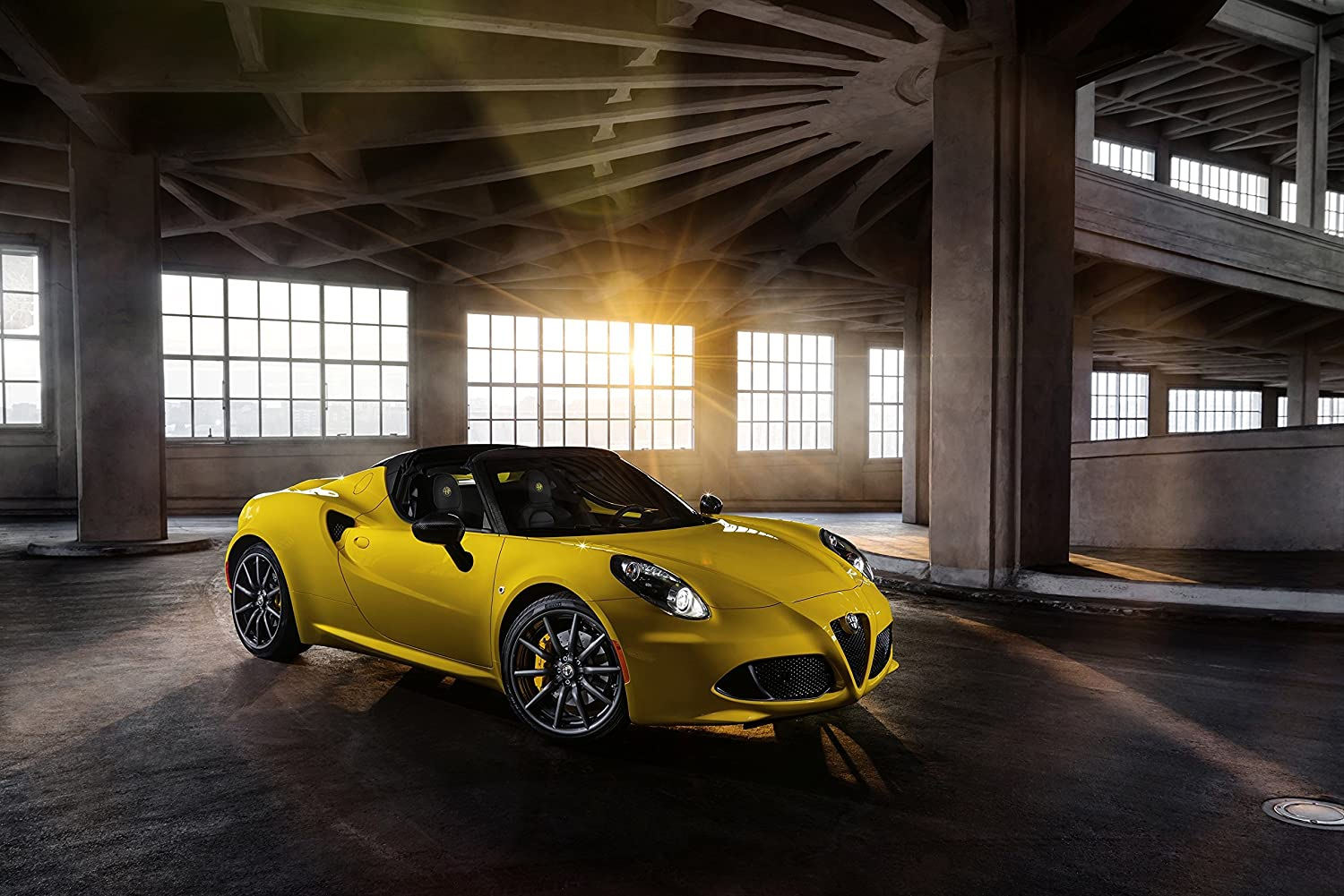 """Alfa Romeo 4C Spider (2015) Car Art Poster Print on 10 mil Archival Satin Paper Yellow Front Side Static View 36""""x24"""""""