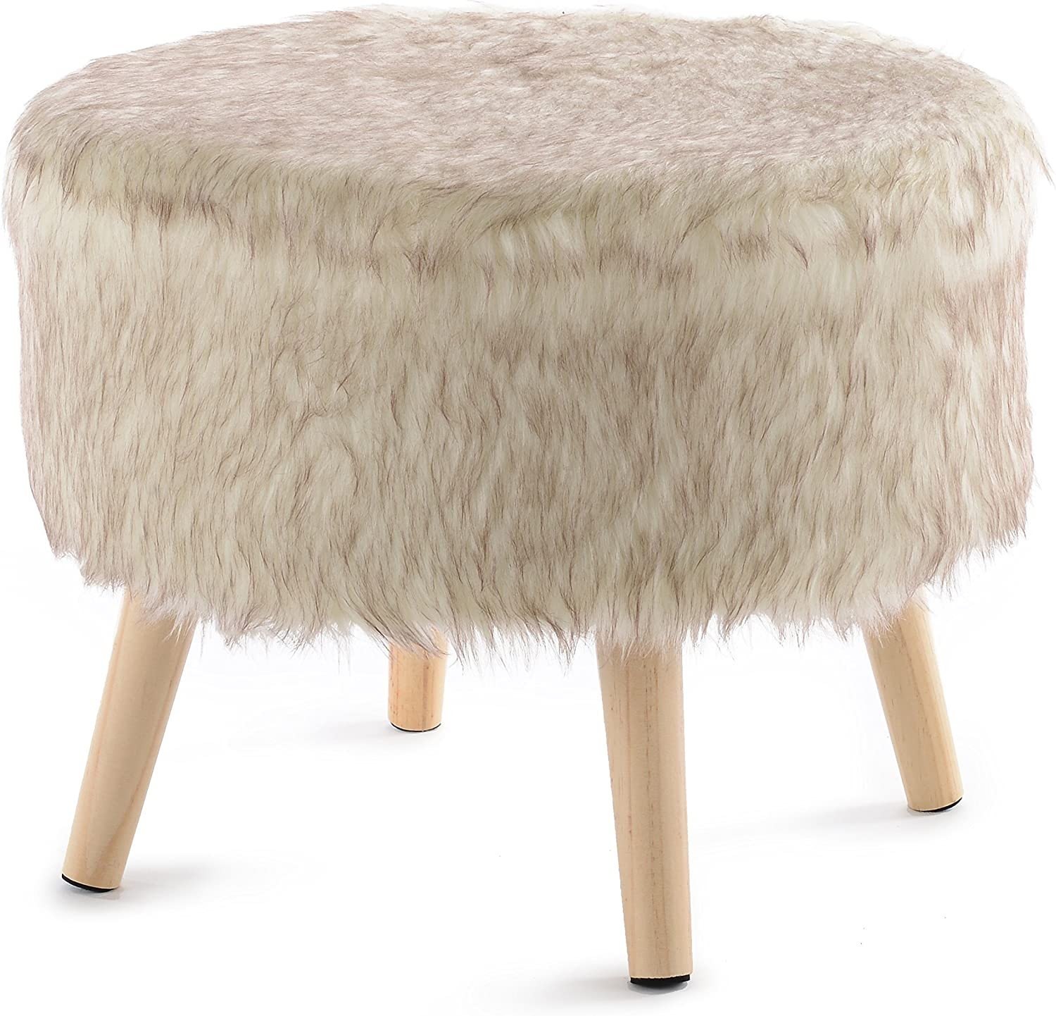 cheer collection 17 round ottoman super soft decorative tan wolf faux fur foot stool with wood legs